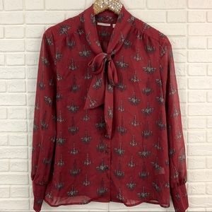 Halogen chandelier print bow tie neck blouse red